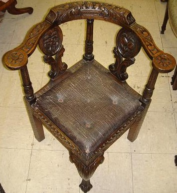 Jacobean Style Carved Corner Chair Inventory #3250 93.