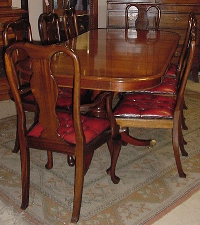 3650 214 set 8 mahogany queen anne dining chairs for Dining room queen anne