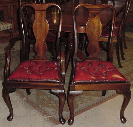 Set Of 8 6 2 Mahogany Queen Anne Dining Chairs With Red Leather Tufted Seats That Pop In And Out For Easy Recovering The Is Comprised Armchairs